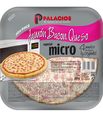 Pizza MICRO jambon, bacon et fromage